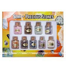 9 Mini Bottles Gemstone Chip Beads Crystal Reiki Healing Tumbled Gem Stones Set