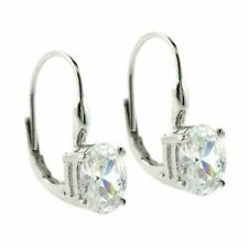 Sterling Silver CZ Oval Leverback Earrings