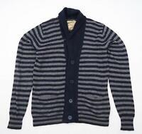 Scotch & Soda Mens Size M Cotton Blend Striped Grey Cardigan