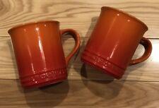 "Set of 2 ""Flame"" 12 Oz LE CREUSET 4"" Tall Mug NWT Stoneware Coffee Cup Orange"