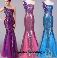 SALE! ONE SHOULDER SEQUIN DRESS Custom Made Homecoming Prom Formal Evening Gown