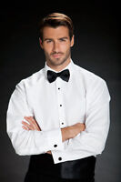 Used White Microfiber Plain front Laydown Spread Collar Tuxedo Tux Dress Shirt