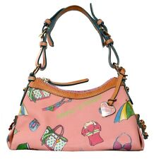 Dooney & Bourke Coated Summer Beach Canvas Zip Top Shoulder Bag Purse Handbag