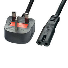 2m UK Mains Plug to C7 Figure/Fig 8 Power Cable - 240V Transformer Charger Lead