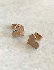 Rose Gold Plated Sandblasted Dust Finish Heart Ear Stud Studs Earrings