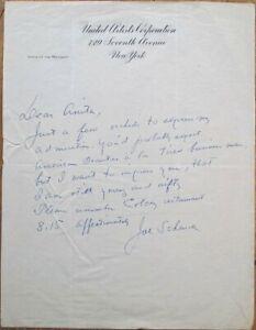 JOSEPH SCHENCK 1940 ALS Autograph Letter/United Artists Letterhead-Truman Pardon