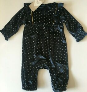 Baby Girls M&S Navy Velour with Gold Spot Outfit 3-6 or 6-9 months  RRP £18
