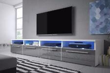 Siena Double - meuble TV - LED bleu - 200 cm - Blanc, Noir, Effet Chêne, Gris