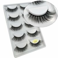 Womens 5Pairs/Set 3D Real Mink False Eyelashes Cross Thick Long Handmade Lashes