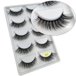 5 Pairs Natural Fashion Handmade Real Mink 3D False Eyelashes Thick Long Lashes