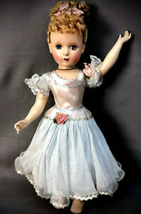 """c.1950 18"""" Nina Ballerina in Her Tagged Blue Outfit - Vtg Madame Alexander Doll"""