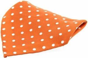 David Van Hagen Mens Polka Dot Silk Pocket Square - Orange/White