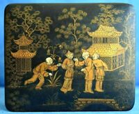 Antique Chinese Export Black Lacquer Hand Painted Paper Mache Gold Scene Box