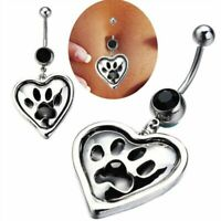 Dangle Button Jewelry Bar Belly 316L Navel Heart 14g Surgical Body Steel Ring