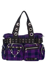 Purple Tartan Check Gothic Rockabilly Emo Punk Handcuff Camdyn Bag BANNED