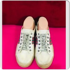 GUCCI White Web Striped Green Red Lace up Sneakers Espadrille Shoes Size 6