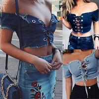 Womens Summer Off Shoulder Denim Shirt Crop Tops Lace Up Jean Blouses Ladies Top