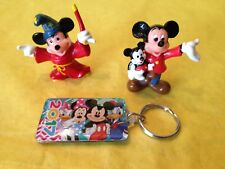 """Disney MICKEY MOUSE Figurines (2) - by Applause - 2"""" Tall - Plus a Key Chain"""