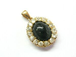 Vintage Black Star Sapphire & Diamond Pendant 18Kt Yellow Gold 1.40Ct