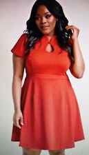 New Modcloth High Society Style short sleeve dress keyhole A line 2X RED