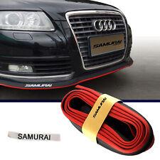 8FT Black Red Front Bumper Lip Splitter Chin Spoiler Body Kit Trim Universal