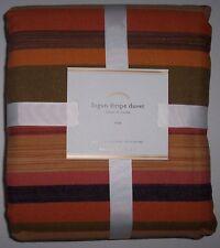 NEW Pottery Barn LOGAN STRIPE Duvet Cover TWIN Orange/Gold/Brown COTTON/LINEN