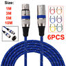 6X 3 Pin XLR Audio Cable Male to Female Plug Microphone Mic Cord 1-10M Lead Set