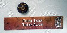 Eoin Colfer ARTEMIS FOWL Original Bookmark and Promotional Pin, Badge. NEW. 2003