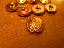 "Nos Vintage 1960s Gold Baroque Crown Crest Banner Shield 3/4"" Retro Coat Buttons"