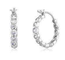 18K WHITE GOLD VERMEIL Bezel Set All Around 5A Cubic Zirconia Hoop Earrings-925