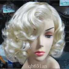 New Women Short Light Blonde Wavy Curly Hair Cosplay Marilyn Monroe Party Wigs