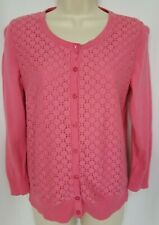 Talbots Cardigan Sweater Small Pink Lace Overlay Button Front 3/4 Sleeve