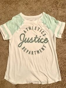 JUSTICE GIrls Size 18-20 Short SLEEVE White & Mint Green AthleticS Tee Top
