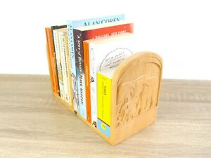 Hardwood Hand Carved WOOD ELEPHANT BOOK ENDS Wooden Pair of Bookends