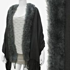 Shawl Cape Faux Fur Trim Solid Dark Gray Wrap