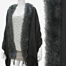 Shawl Cape Faux Fur Trim Solid Dark Gray Soft Wrap 68 inches Long