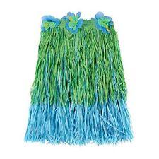 "Hawaiian Summer Luau Party Two-Tone Adult Hula Skirt Blue/Green 23.4 x 7.4"""