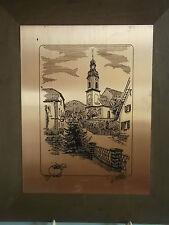 Alte Kupferstichplatte auf Holz sign.  Motiv Kirche und Umgebung