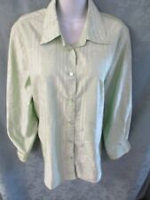 Foxcroft Wrinkle Free Shaped Fit Career Blouse Size 14W Floral & Stripe Jacquard