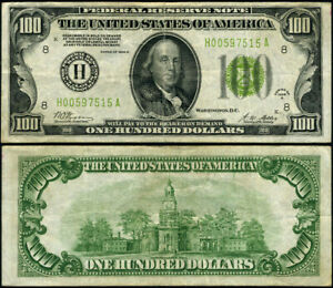 FR. 2151 H $100 1928-A Federal Reserve Note St. Louis H-A Block VF+ LGS