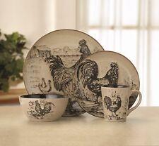 Rooster 16 PC Dinnerware Dish Set 4 Bowl Mug Plates Country Stoneware Kitchen