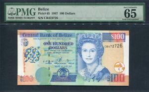 Belize 1997, 100 Dollars, P65, PMG 65 EPQ GEM UNC