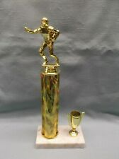 Football trophy gold column cup trim marble base