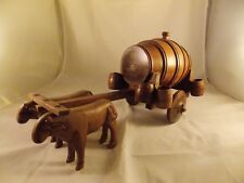 Whiskey Barrel Cart With Oxen And Shot Glasses - Folk Art - From Nicaragua