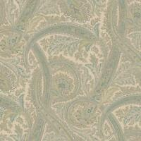 Wallpaper Designer Courtney Paisley Green, Teal, Charcoal, on Tan Background