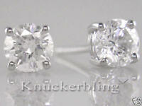 2.00ct Brilliant Cut F SI Diamond Solitaire Stud Earrings in 18ct White Gold