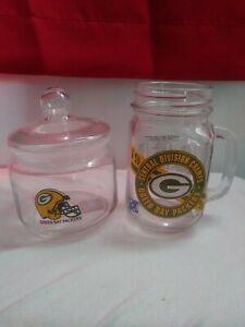 Green Bay Packers Glass Mason Drinking Jar NFL Man 1996 glass jar with lid