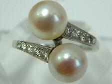 Calidad Fina Vintage Platino Diamante Anillo Perlas de cruce con hombros