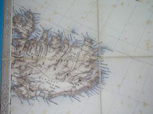 1859 rare ORIGINAL ANTIQUE DETAILED MAP of ICELAND J. von Scheda