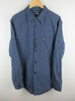 GUESS Mens Shirt Size L Long Sleeve Button Up Regular Fit Blue Check Adult